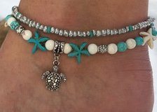 Bohemia Bead Shell Starfish Turtle Anklets For Women Foot Jewelry Sandals Shoes Barefoot Beach A... in Moody AFB, Georgia