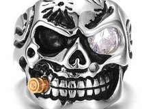 Titanium Stainless Steel Skull Ring Vintage Punk For Men Jewelry (Size 10) in Moody AFB, Georgia