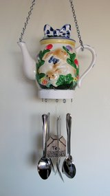 Tea Pot Wind chime, Bunny tea pot with spoons as chimes in 29 Palms, California