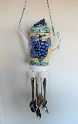 Tea Pot Wind Chime, Handmade, colorful ceramic teapot with spoon chimes in 29 Palms, California