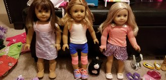3 American girl dolls, jeep, 2 trailers, horse, cloths, shoes and accessories in Joliet, Illinois