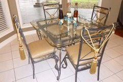 Modern Dining Furniture: Iron Beveled Glass Table, 4 Tufted Chairs & 6' matching 3-shelf Display in Houston, Texas