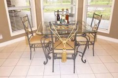 Dining Set w/matching 6' tall 3-glass Shelf Display, Modern Exc Like New, Moving... in Houston, Texas