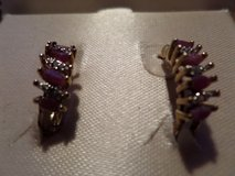 Ruby & Diamond Earrings 18k gold over sterling silver in Alamogordo, New Mexico