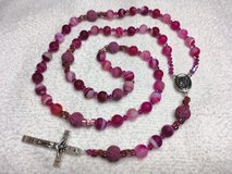 Rosary Fuchsia Striped Agate Czech Accent Beads Lava Rock Pater Beads Italian Silver Medal and C... in Kingwood, Texas