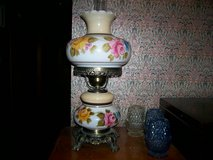 Large Vintage Hurricane Lamp - Yellow Pink Blue Flower Design Hand Painted in Joliet, Illinois