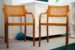 Two blond wood matching bentwood chairs in 29 Palms, California