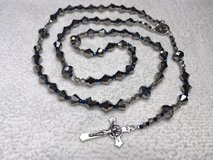 Rosary Silver Czech Glass Beads with Cobalt Blue AB Finished Spacers Italian Silver Medal and Cr... in Kingwood, Texas