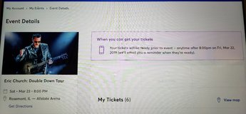 Eric Church – 2 Tickets – Great Seats – 3/23 Allstate Arena in Aurora, Illinois