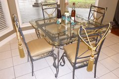 Modern Dining Glass/Iron 2-Tone Table, 4 Tufted Chairs & matching 6' Tall, 3-Tier Display Shelf in Houston, Texas