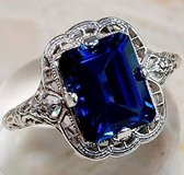 SUNDAY ONLY***BRAND NEW***STUNNING Sapphire Emerald Cut Ring***SZ 8 in Houston, Texas