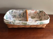 LONGABERGER BREAD BASKET WITH BOTANICAL LINER, 2 PROTECTORS AND WOOD DIVIDER in Lockport, Illinois