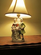 Victorian Man and Woman Table Lamp Made in Occupied Japan Gold Accents in Chicago, Illinois