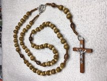 Rosary First Communion Boy Wooden Beads Brown Chalice with Host Medal Matching Wooden Crucifix w... in Kingwood, Texas