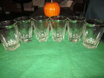 Vintage 1960's Set of Six Silver Rimmed Drinking Glasses in Yucca Valley, California
