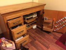 Solid Oak Sewing Console & sewing machine in Cherry Point, North Carolina
