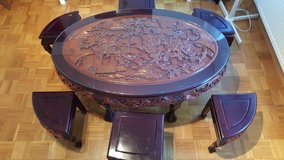 Solid hand carved Rose Wood Chinese Tea table with 6 solid wood chairs withTempered Glass top in Stuttgart, GE