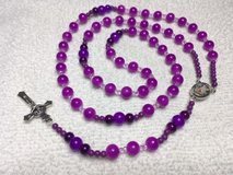 Rosary Purple Beads Various Shades All Glass Full Color Middle Medal Guardian Angel Italian Silv... in Kingwood, Texas