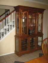 Solid wood dining table, 8 chairs and hutch. in Kingwood, Texas