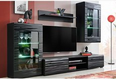 United Furniture - Timber Wall Unit with LED Lights in Black and Red including delivery in Spangdahlem, Germany