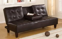 NEW! URBAN LEATHER SOFA BED FUTON CUPHOLDER SLEEPER !! in Camp Pendleton, California