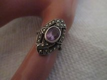 VINTAGE STERLING SILVER AMYTHEST & MARCASITE RING SZ. 6 in Cleveland, Texas