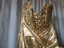 VINTAGE Evening Formal Prom Gold Lamay Sequince Strapless ZUM ZUM NWT sz 7 N.W.T. in Alamogordo, New Mexico