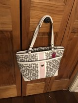 Coach Gray & White Signature Leather Handbag with Pink Stripe and Hot Pink Lining in Naperville, Illinois