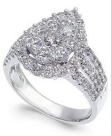 2 carat t.w. Diamond Cluster 14k White Gold Engagement Ring in Fort Drum, New York