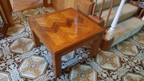 Solid Oak wood inlaid pattern end table or all purpose table in Kingwood, Texas