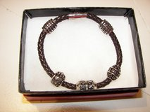 Bracelet - Men's leather and Silver - 9 inches - NWOT in Beaufort, South Carolina