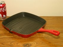 Cast Iron Square Grill Pan - Red Porcelain Enamel Finish in Bartlett, Illinois