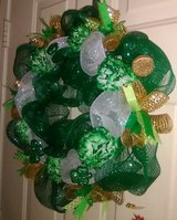 "20"" Saint Patrick's Day Deco Mesh Wreath in Byron, Georgia"