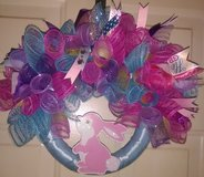 "18"" Easter Deco Mesh Curly Wreath in Byron, Georgia"