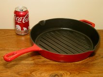 Cast Iron Round Grill Pan - Red Porcelain Enamel Finish in Bartlett, Illinois