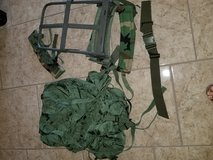 Old school army ruck suck with frame in 29 Palms, California