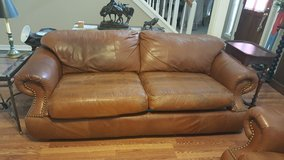 GENUINE  LEATHER COUNTRY WESTERN SOFA/ARMCHAIR/OTTOMAN SET WITH EMBOSSED EXOTIC ALLIGATOR ACCENTS in Kingwood, Texas