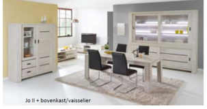"United Furniture - ""Gabriel"" - China small - Table 160 - 4 Chairs (black or white) -includes del. in Stuttgart, GE"