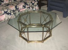 Glass & Brass Coffee Table - Octagon Shape in Lockport, Illinois