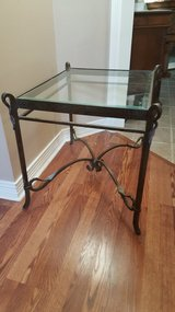 VERY UNIQUE ALL IRON TABLE WITH BEVELED GLASS TOP. IN EXCELLENT CONDITION in Kingwood, Texas