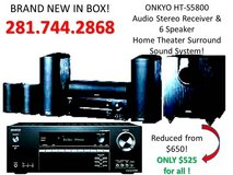 NEW IN BOX, ONKYO, HT-S5800 Receiver & 6 Speaker Home Theater Surround Sound System. REDUCED! in Houston, Texas