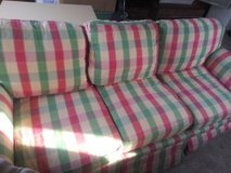 Pink plaid couch in Camp Lejeune, North Carolina