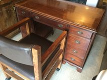 Antique Cherry  Solidwood Office Desk With Dark Brown Leather Chair in Camp Lejeune, North Carolina