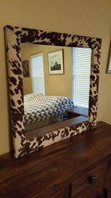 "EXOTIC LARGE COUNTRY WESTERN COWHIDE FRAME WALL MIRROR. (36""X 36"") in Kingwood, Texas"