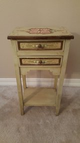 Vintage All Hand Painted Cottage Narrow Bedside Table. in Kingwood, Texas