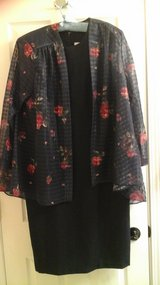 Womens Size 14 Navy Dress With Sheer Rose Print Jacket Evening Wear in Naperville, Illinois