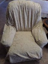 Chair Slip Cover Ivory Beige Tan Baroque Swirl ever stuffed chaise RN 15288 in Alamogordo, New Mexico