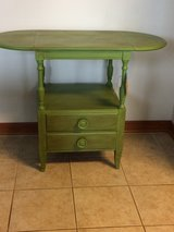 Antique appple green table in Naperville, Illinois