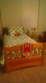 SOLID PINE BUNK BED SET W/TWIN MATTRESSES in Naperville, Illinois