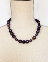 "Vintage Purple Plum 18"" Gold Tone Necklace Strand Chain Pendant Bead Toggle in Kingwood, Texas"